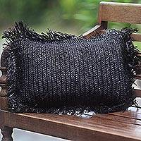 Pineapple leaf cushion cover, 'Dark Cloud' - Hand Made Pineapple Leaf Cushion Cover in Black Indonesia