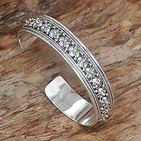 Featured review for Sterling silver cuff bracelet, Frangipani Line