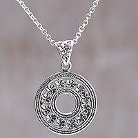 Sterling silver pendant necklace, 'Jepun Coin' - Hand Made Circle Sterling Silver Pendant Necklace Indonesia