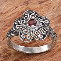 Garnet cocktail ring, 'Majestic Flower in Red' - Sterling Silver Garnet Floral Cocktail Ring from Indonesia