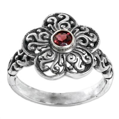 Sterling Silver Garnet Floral Cocktail Ring from Indonesia