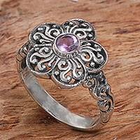 Amethyst cocktail ring, 'Majestic Flower in Purple' - Sterling Silver Amethyst Floral Cocktail Ring Indonesia