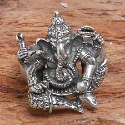 Sterling silver cocktail ring, Stoic Ganesha
