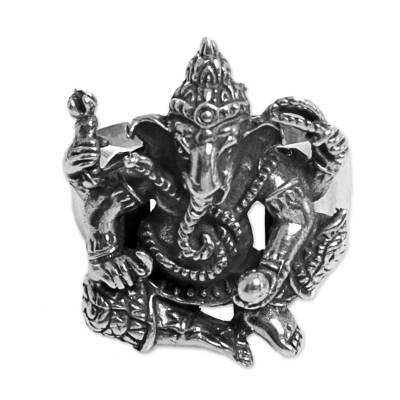 Sterling silver cocktail ring, 'Stoic Ganesha' - Hindu Ganesha Sterling Silver Cocktail Ring from Indonesia