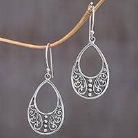 Sterling silver dangle earrings, 'Young Beauty' - Sterling Silver Openwork Dangle Earrings from Indonesia