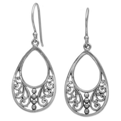 Sterling silver dangle earrings, 'Young Beauty' - Sterling Silver Openwork Dangle Earrings from Indonesia