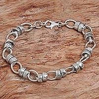 Sterling silver link bracelet, 'Family Ties' - Hand Made Sterling Silver Link Bracelet Indonesia