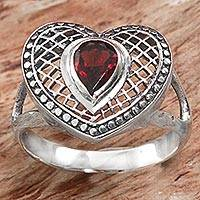 Garnet cocktail ring, 'Bali Heart in Red' - Sterling Silver and Garnet Heart Shaped Cocktail Ring