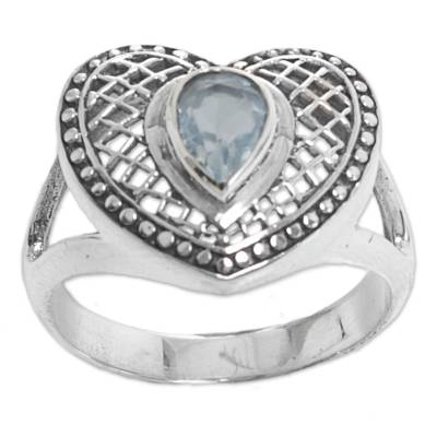 Sterling Silver Blue Topaz Heart Cocktail Ring Indonesia