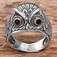 Garnet domed ring, 'Night Watcher in Red' - Sterling Silver Garnet Owl Domed Ring from Indonesia