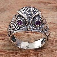 Amethyst domed ring, 'Night Watcher in Purple' - Sterling Silver Amethyst Owl Domed Ring from Indonesia