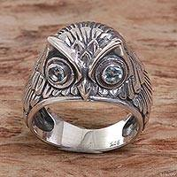 Blue topaz domed ring, 'Night Watcher in Blue' - Sterling Silver Blue Topaz Owl Domed Ring from Indonesia