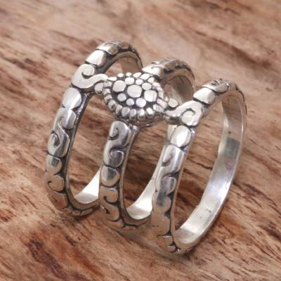 Sterling silver band ring, 'Bali Trio' - Hand Made Sterling Silver 3 Band Ring from Indonesia