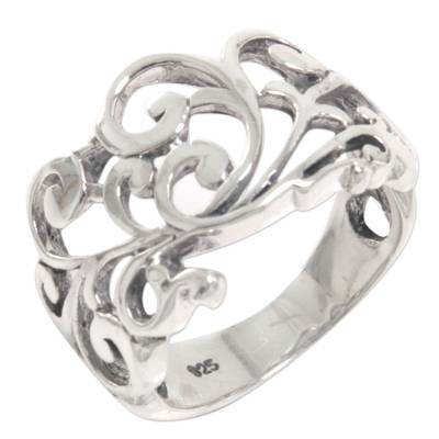 Sterling silver band ring, 'Shiny Spirals' - Sterling Silver Spiral Band Ring from Indonesia