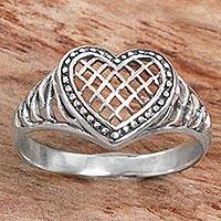 Featured review for Sterling silver cocktail ring, Bali Heart