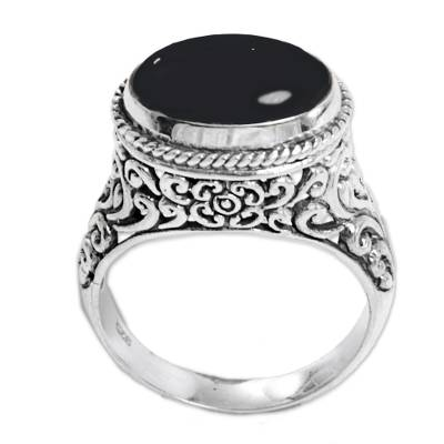 Onyx single stone ring, 'Deep Eye' - Sterling Silver Onyx Single Stone Ring from Indonesia