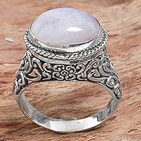 Rainbow moonstone single stone ring, 'Bali Eye' - Rainbow Moonstone Single Stone Ring from Indonesia