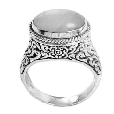 Rainbow moonstone single stone ring, 'Bali Eye' - Rainbow Moonstone Single Stone Ring from Indonesia