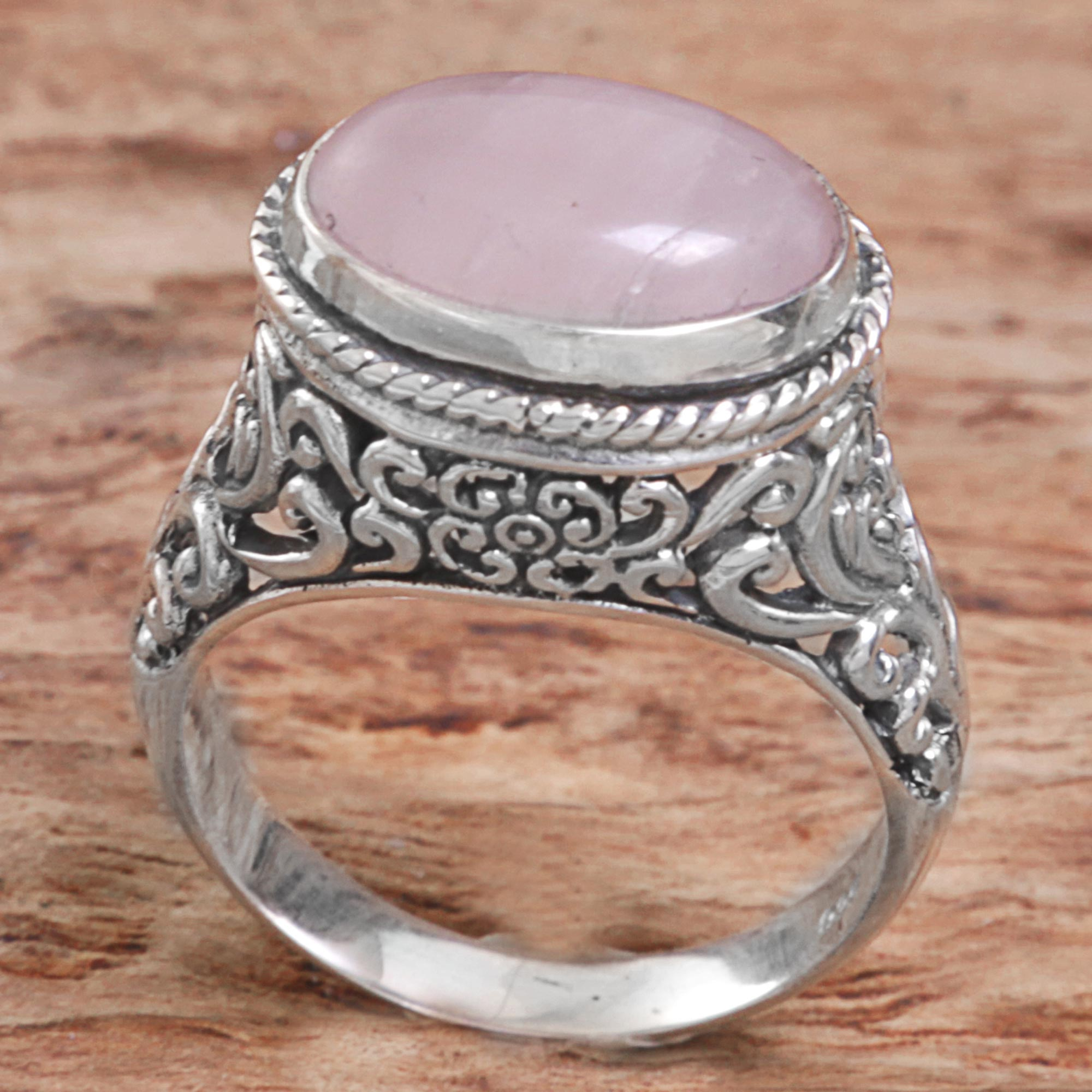 oval rings product sides pink side design view with stone silver ornate scroll sterling ring
