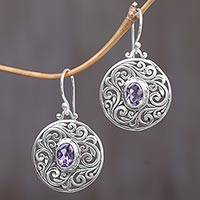Amethyst dangle earrings, 'Purple Memories' - Amethyst and Sterling Silver Dangle Earrings from Indonesia