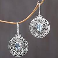 Blue topaz dangle earrings, 'Blue Memories' - Sterling Silver Blue Topaz Dangle Earrings from Indonesia