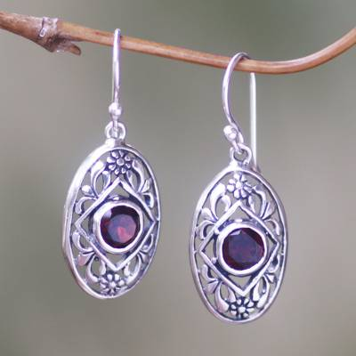 Garnet dangle earrings, 'Sunset Eye' - Flower Garnet Sterling Silver Dangle Earrings from Indonesia