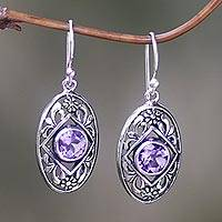 Amethyst dangle earrings, 'Sunset Eye' - Flower Amethyst Sterling Silver Dangle Earrings Indonesia