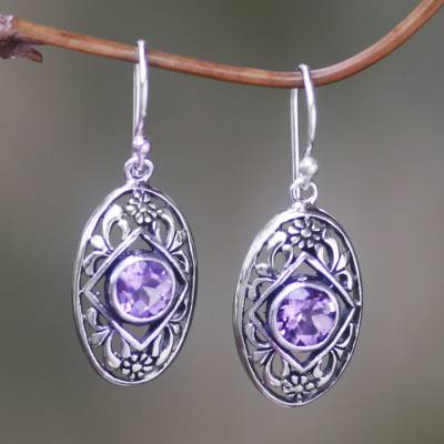 Novica Amethyst drop earrings, Bamboo Life