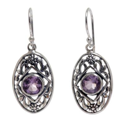 Amethyst dangle earrings, 'Sunset Eye' - Flower Amethyst Sterling Silver Dangle Earrings Indonesia
