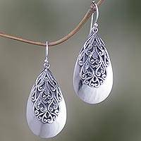 Sterling silver dangle earrings, 'Leafy Bliss' - Sterling Silver Leaf Dangle Earrings from Indonesia