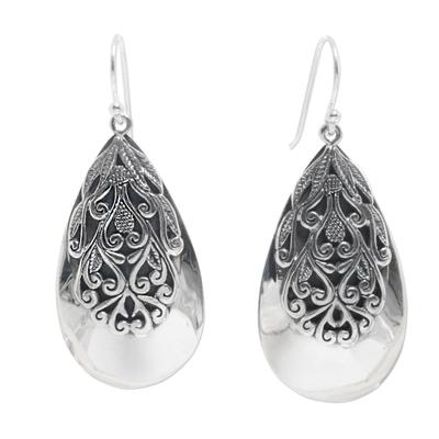 Sterling silver dangle earrings, 'Leafy Bliss' - Sterling Silver Leaf Dangle Earrings from Indonesia