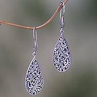 Sterling silver dangle earrings, 'Blissful Tears' - Sterling Silver Teardrop Dangle Earrings from Indonesia