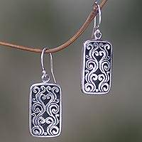 Sterling silver dangle earrings, 'Jungle Cage' - Sterling Silver Rectangle Dangle Earrings from Indonesia