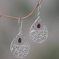 Garnet dangle earrings, 'Floral Days' - Floral Garnet Sterling Silver Dangle Earrings from Indonesia