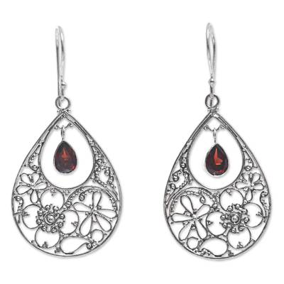 Garnet dangle earrings, 'Floral Days' - Floral Garnet Sterling Silver Dangle Earrings from Indonesia