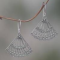 Sterling silver dangle earrings, 'Legong Fans' - Fan Shaped Sterling Silver Dangle Earrings from Indonesia