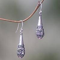 Sterling silver dangle earrings, 'Cones of Light'
