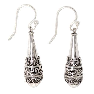 Sterling silver dangle earrings, 'Cones of Light' - Sterling Silver Dangle Earrings Cone Shape from Indonesia