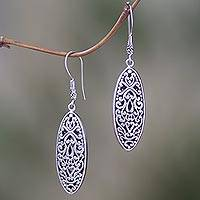 Sterling silver dangle earrings, 'Asmat Shield' - Sterling Silver Oval Shape Dangle Earrings from Indonesia