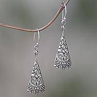Sterling silver dangle earrings, 'Floral Courage' - Triangular Floral Sterling Silver Dangle Earrings from Bali