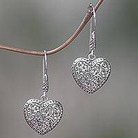 Sterling silver dangle earrings, 'Open Hearts' - Heart Shape Sterling Silver Dangle Earrings from Indonesia