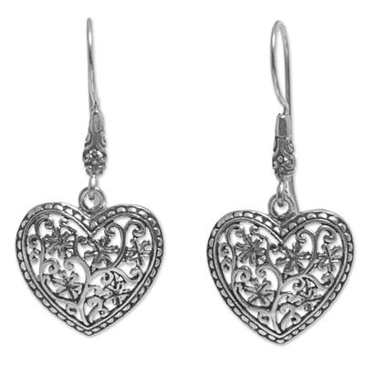 Sterling silver dangle earrings, 'Open Hearts' - Heart Shape Sterling Silver Dangle Earrings from Indonesia