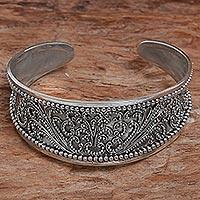 Sterling silver cuff bracelet, 'Ubud Romance' - Sterling Silver Cuff Bracelet from Indonesia