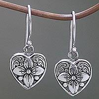 Sterling silver dangle earrings, 'Heart Blossom' - Sterling Silver Floral Heart Dangle Earrings from Indonesia