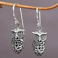 Sterling silver dangle earrings, 'Owl Heart' - Hand Made Sterling Silver Owl Dangle Earrings from Indonesia