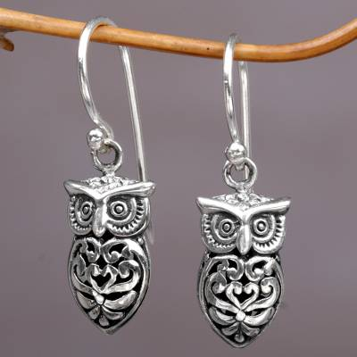 Sterling Silver Dangle Earrings Owl Heart Hand Made