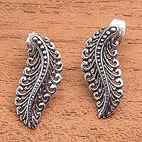 Sterling silver drop earrings, 'Shining Frond' - Sterling Silver Leaf Drop Earrings NOVICA from Indonesia
