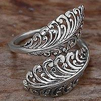 Sterling silver wrap ring, 'Friendly Ferns' - Hand Made Sterling Silver Wrap Ring Leaf Motifs Indonesia