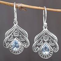 Blue topaz dangle earrings, 'Summer Raindrops' - Sterling Silver Blue Topaz Floral Dangle Earrings