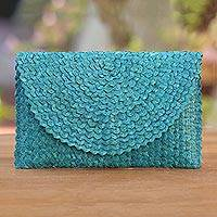 Lontar clutch, 'Trance in Cerulean' - Handwoven Lontar Clutch in Cerulean from Java